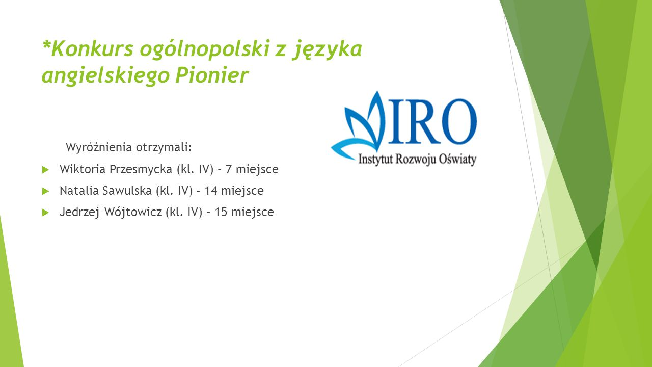 *Konkurs ogólnopolski z języka angielskiego Pionier