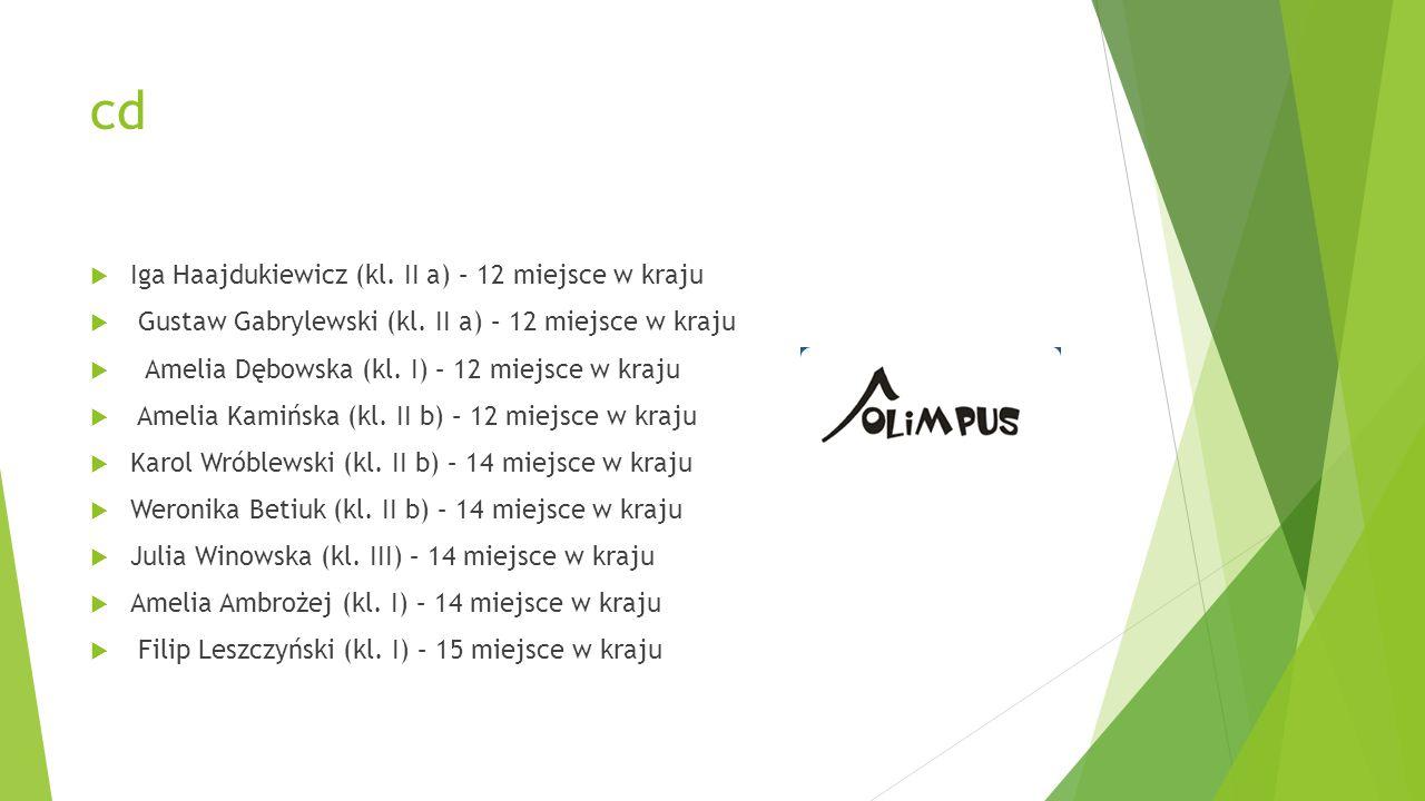 cd Iga Haajdukiewicz (kl. II a) – 12 miejsce w kraju