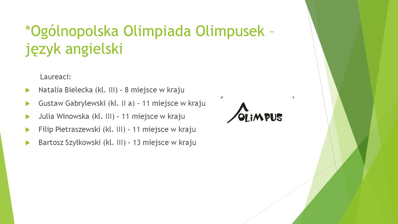 *Ogólnopolska Olimpiada Olimpusek – język angielski
