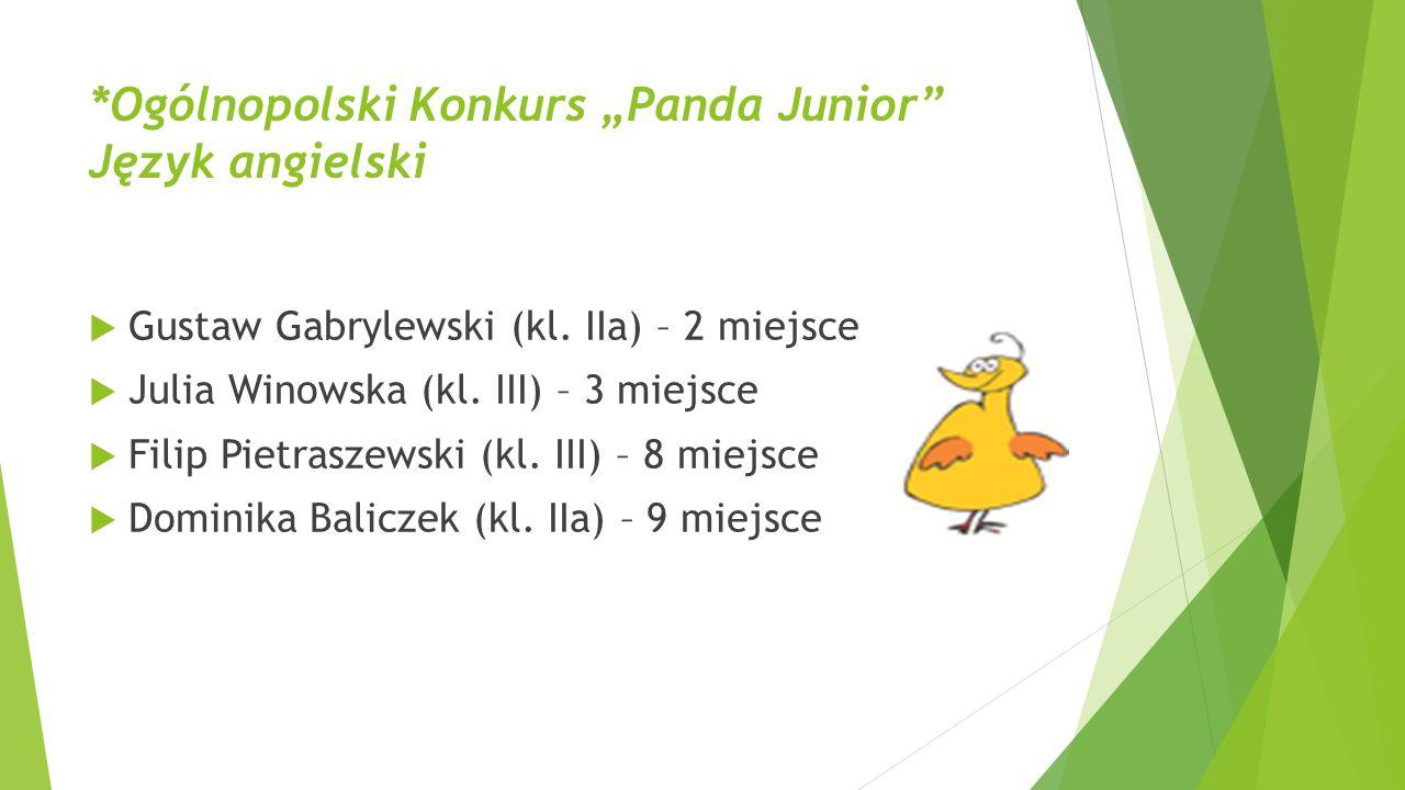 """*Ogólnopolski Konkurs """"Panda Junior Język angielski"""