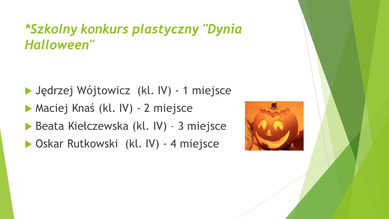 *Szkolny konkurs plastyczny Dynia Halloween
