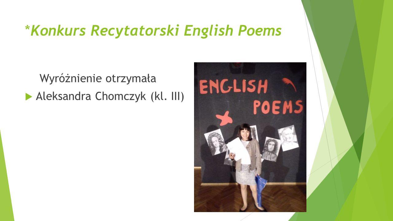 *Konkurs Recytatorski English Poems