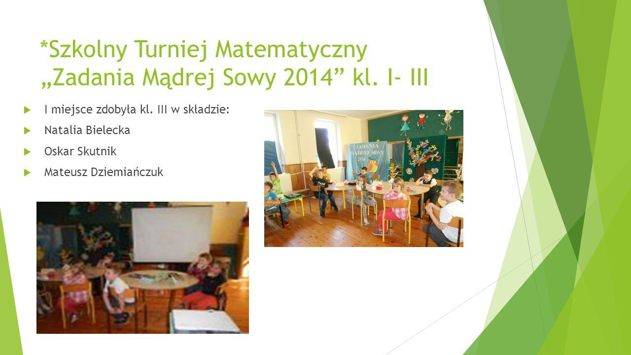 """*Szkolny Turniej Matematyczny """"Zadania Mądrej Sowy 2014 kl. I- III"""