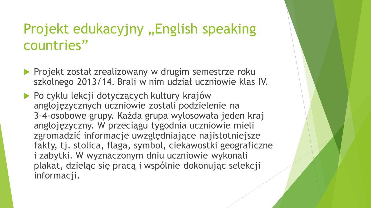 "Projekt edukacyjny ""English speaking countries"