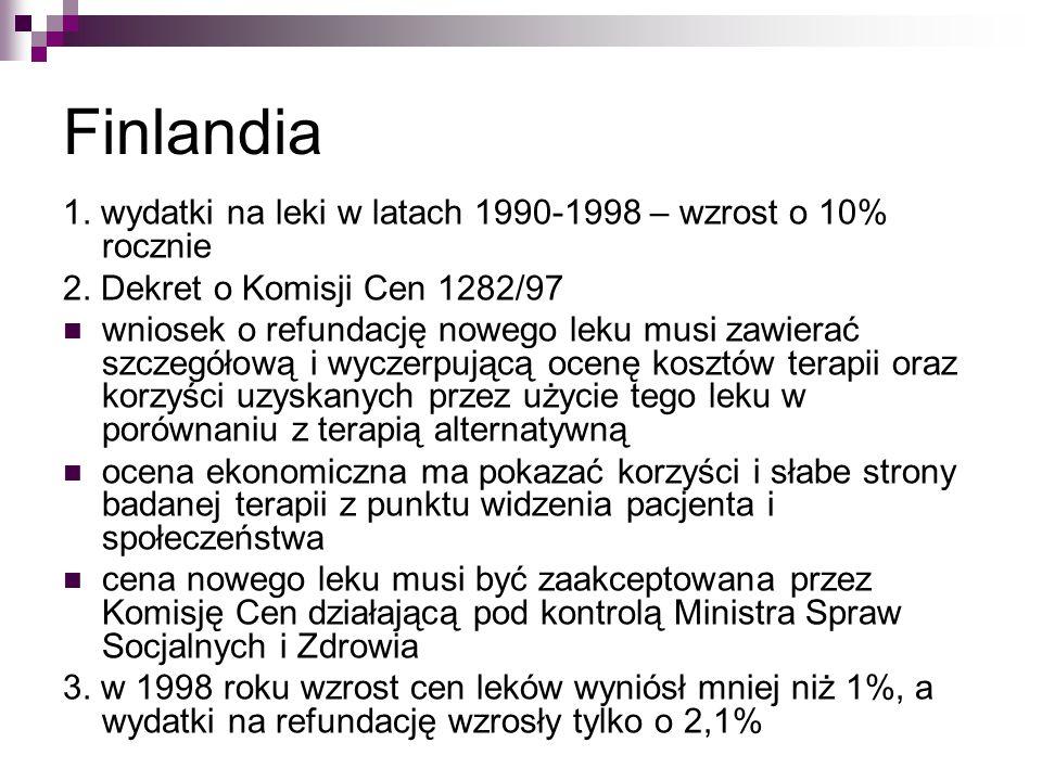 Finlandia 1. wydatki na leki w latach 1990-1998 – wzrost o 10% rocznie