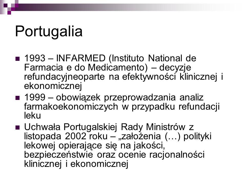 Portugalia 1993 – INFARMED (Instituto National de Farmacia e do Medicamento) – decyzje refundacyjneoparte na efektywności klinicznej i ekonomicznej.