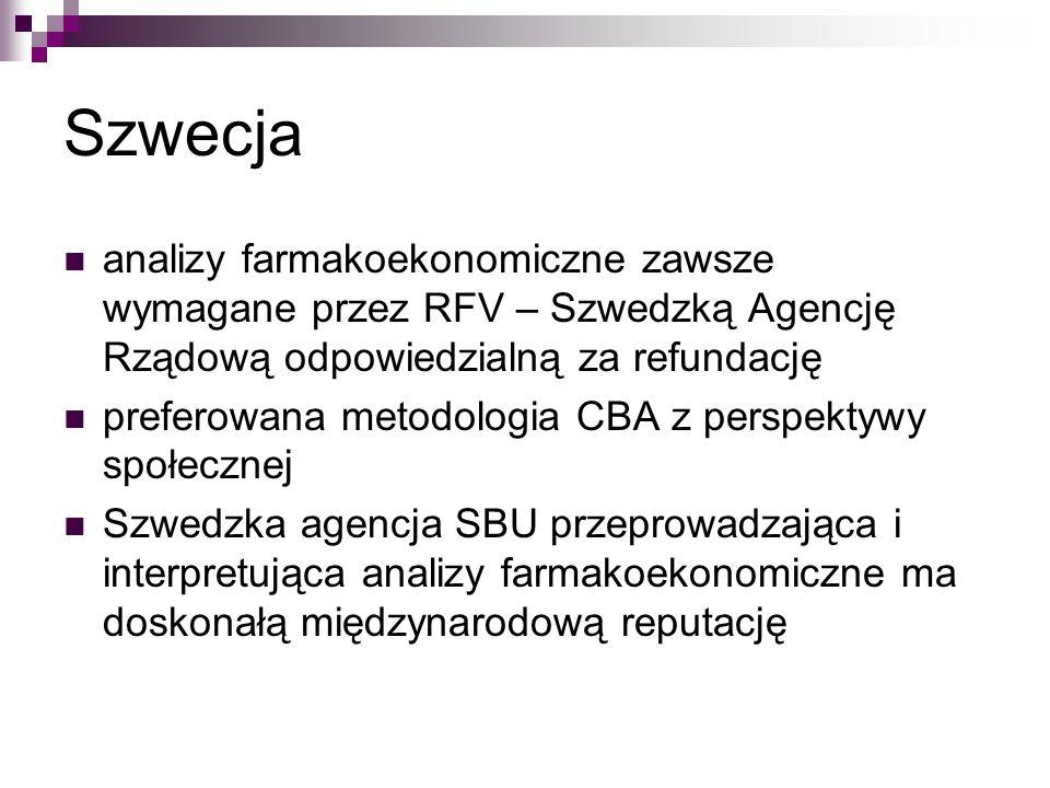 Szwecja analizy farmakoekonomiczne zawsze wymagane przez RFV – Szwedzką Agencję Rządową odpowiedzialną za refundację.