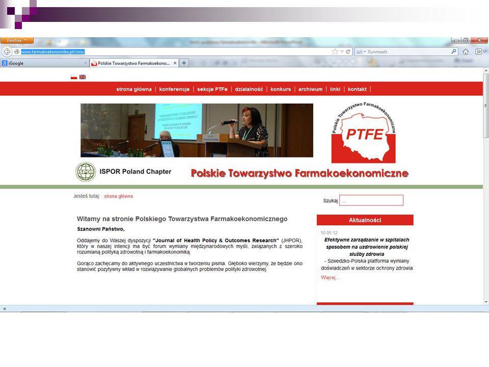 ważniejsze strony internetowe, na których można znaleźć informacje farmakoekonomiczne: