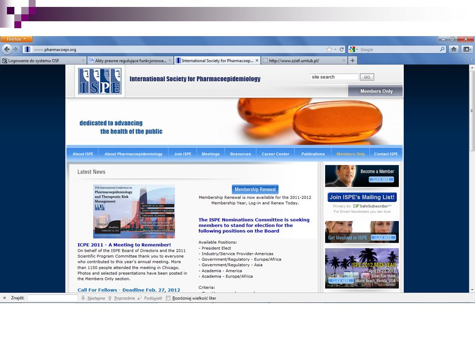 www.pharmacoepi.org (International Society for Pharmacoepidemiology) – j.w.