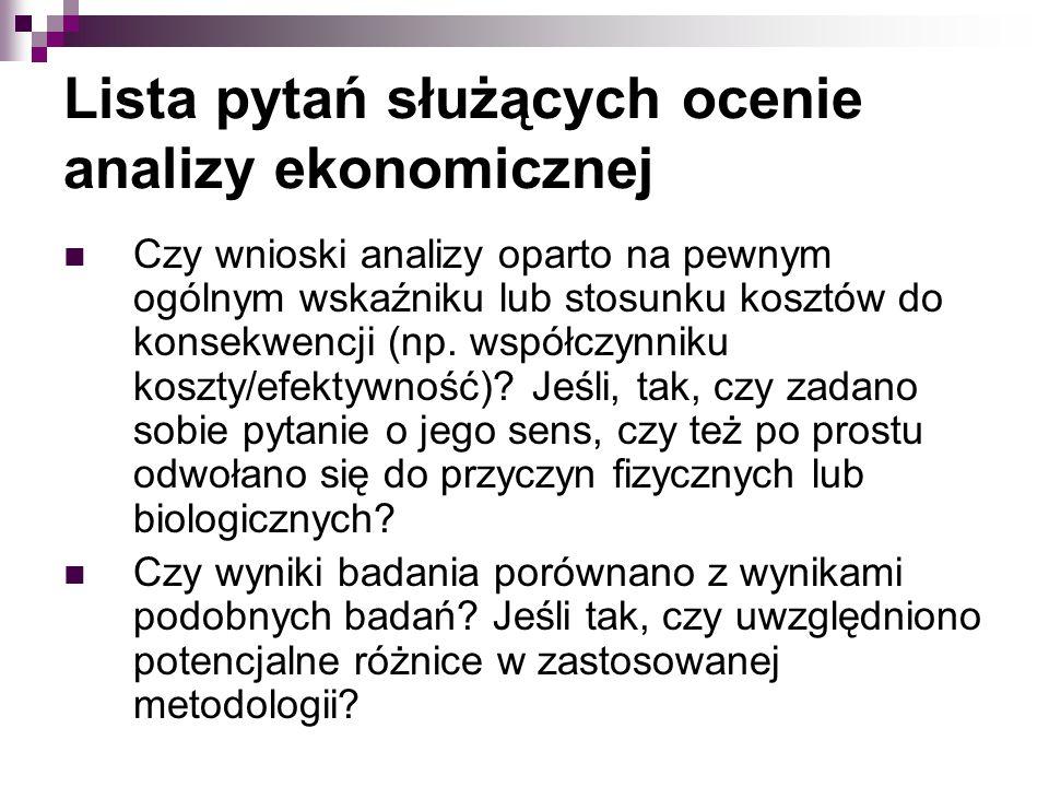 Lista pytań służących ocenie analizy ekonomicznej