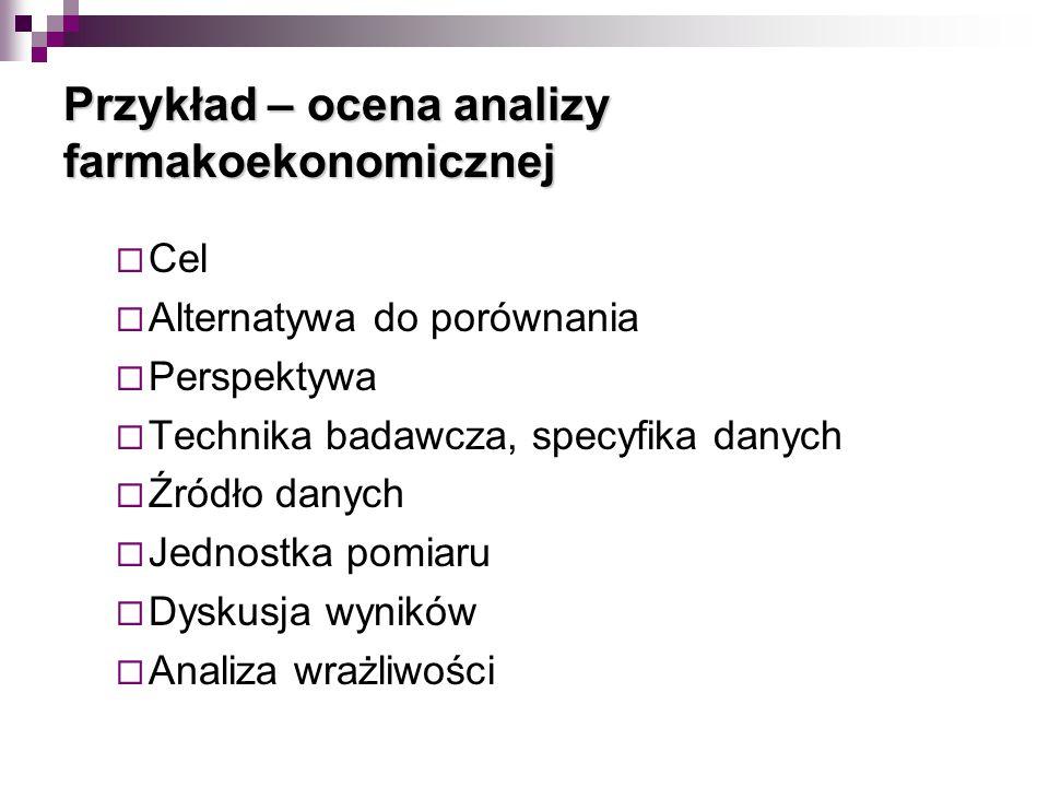 Przykład – ocena analizy farmakoekonomicznej