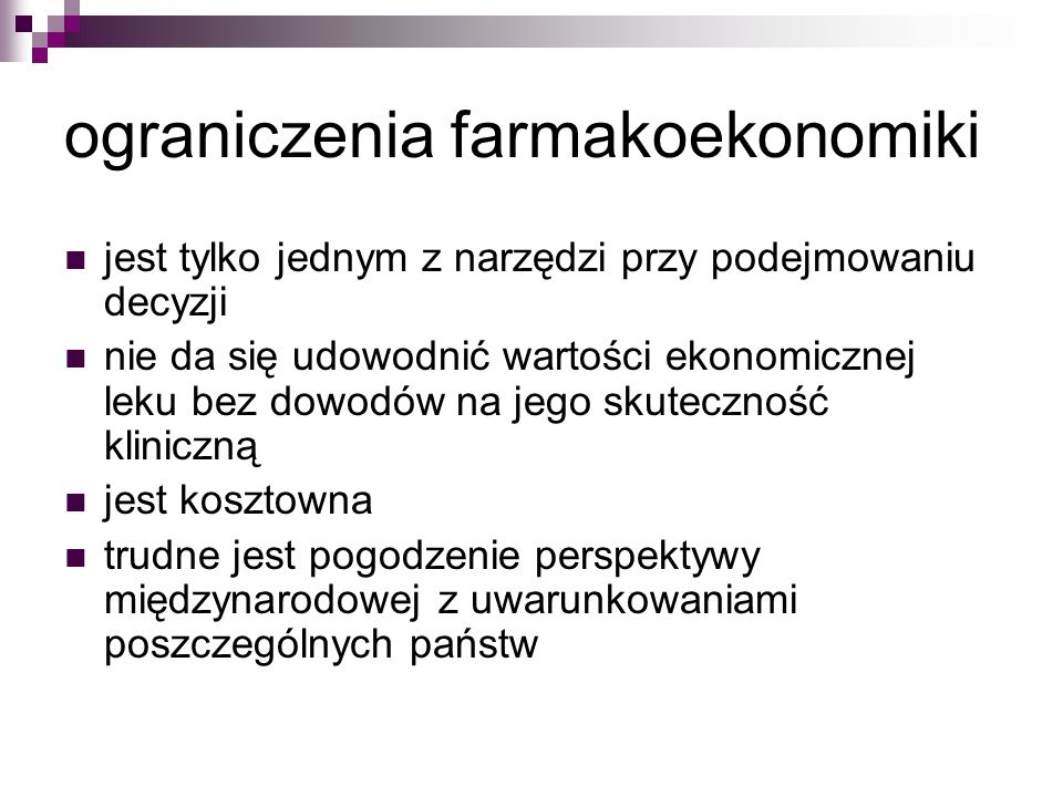 ograniczenia farmakoekonomiki