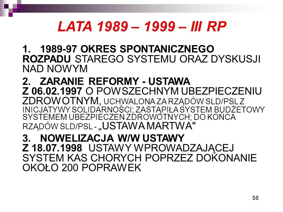 LATA 1989 – 1999 – III RP 1. 1989-97 OKRES SPONTANICZNEGO ROZPADU STAREGO SYSTEMU ORAZ DYSKUSJI NAD NOWYM.