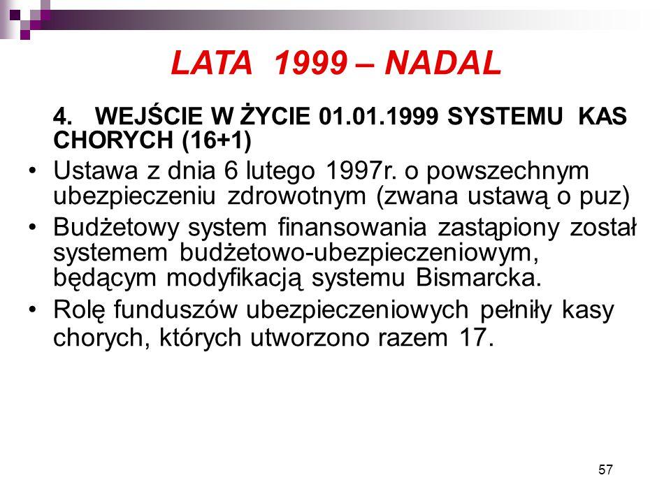LATA 1999 – NADAL 4. WEJŚCIE W ŻYCIE 01.01.1999 SYSTEMU KAS CHORYCH (16+1)