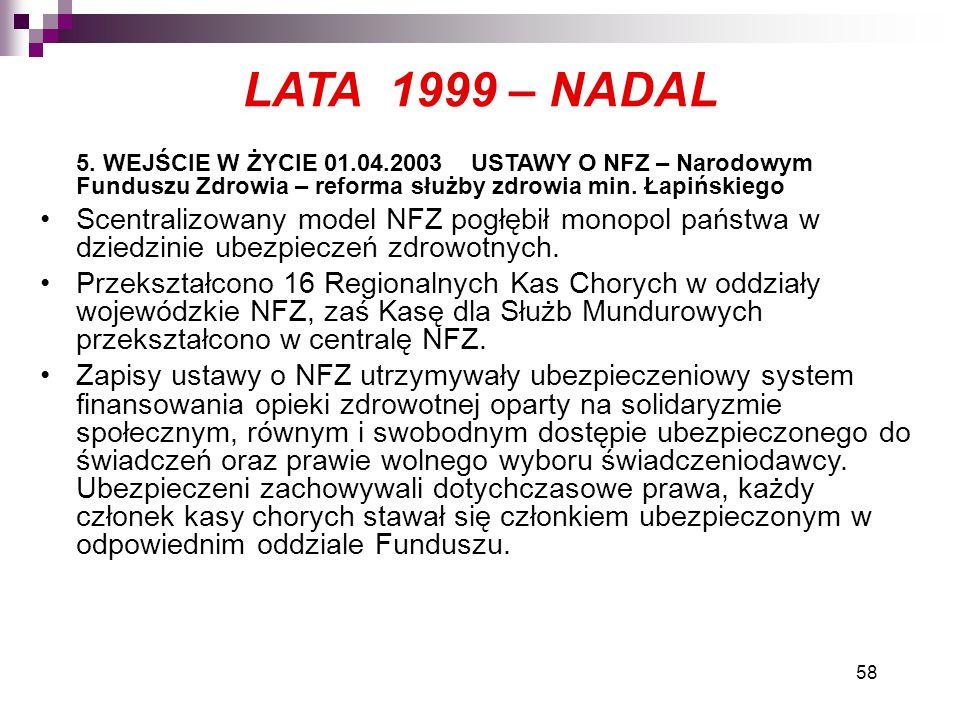 LATA 1999 – NADAL 5. WEJŚCIE W ŻYCIE 01.04.2003 USTAWY O NFZ – Narodowym Funduszu Zdrowia – reforma służby zdrowia min. Łapińskiego.