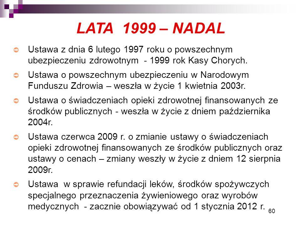 LATA 1999 – NADAL Ustawa z dnia 6 lutego 1997 roku o powszechnym ubezpieczeniu zdrowotnym - 1999 rok Kasy Chorych.