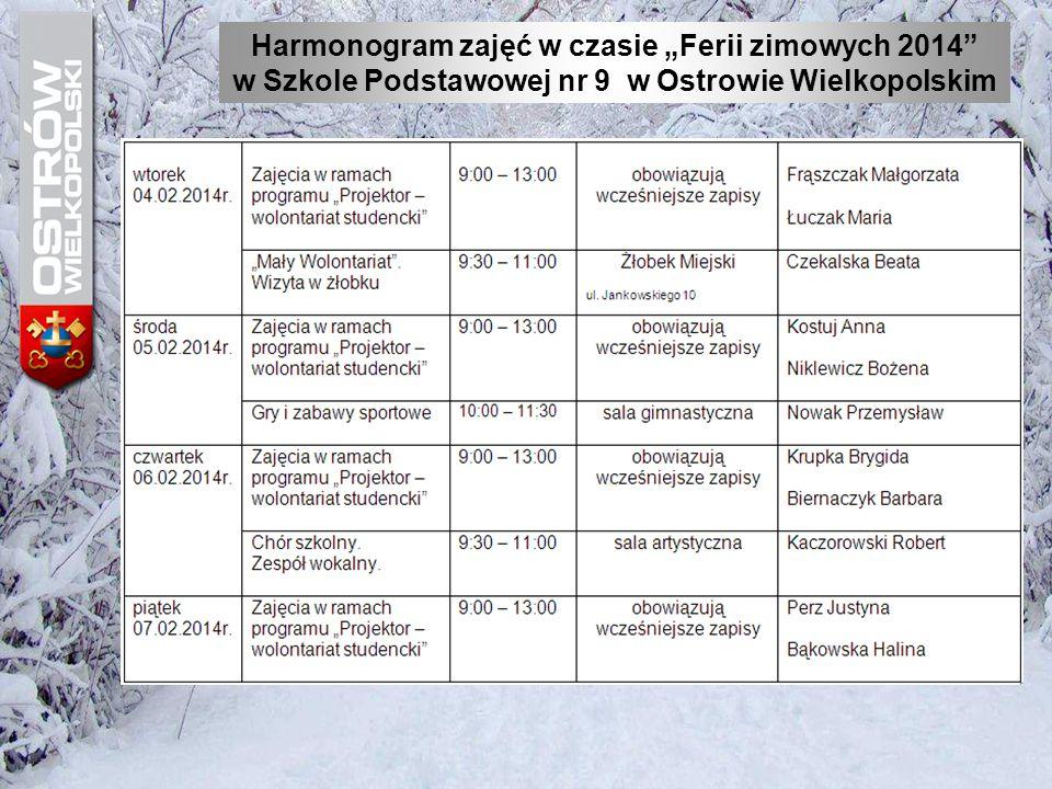 """Harmonogram zajęć w czasie """"Ferii zimowych 2014"""