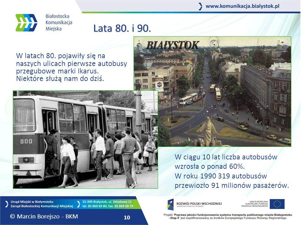 Lata 80. i 90. W latach 80. pojawiły się na naszych ulicach pierwsze autobusy przegubowe marki Ikarus. Niektóre służą nam do dziś.