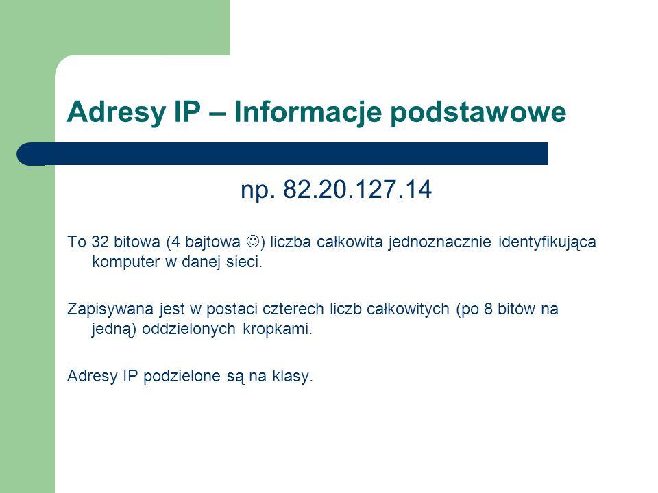 Adresy IP – Informacje podstawowe