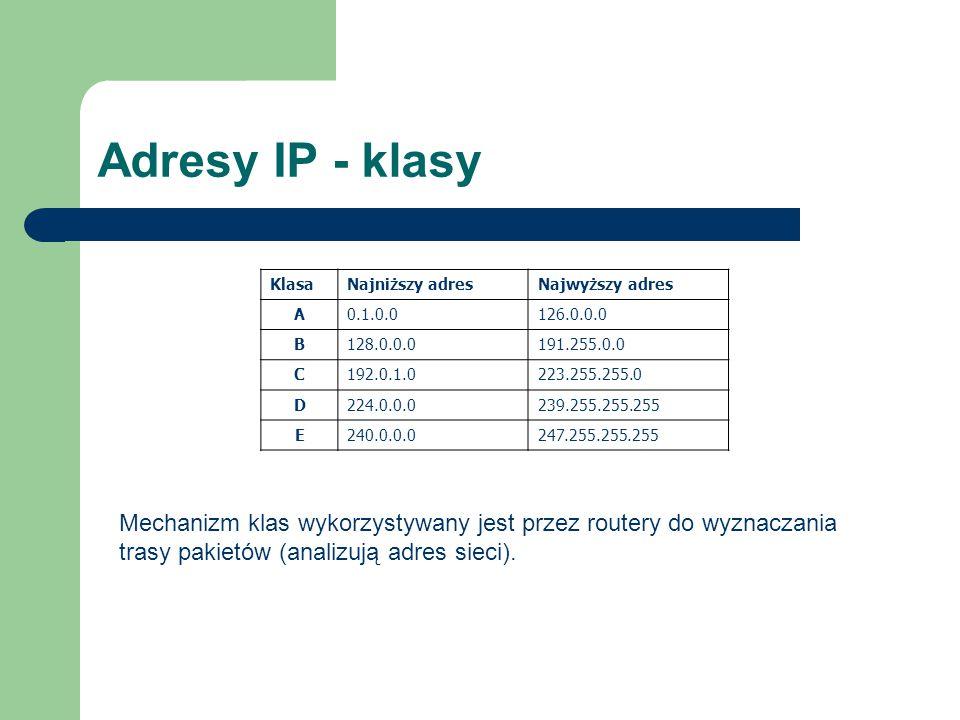 Adresy IP - klasy Klasa. Najniższy adres. Najwyższy adres. A. 0.1.0.0. 126.0.0.0. B. 128.0.0.0.