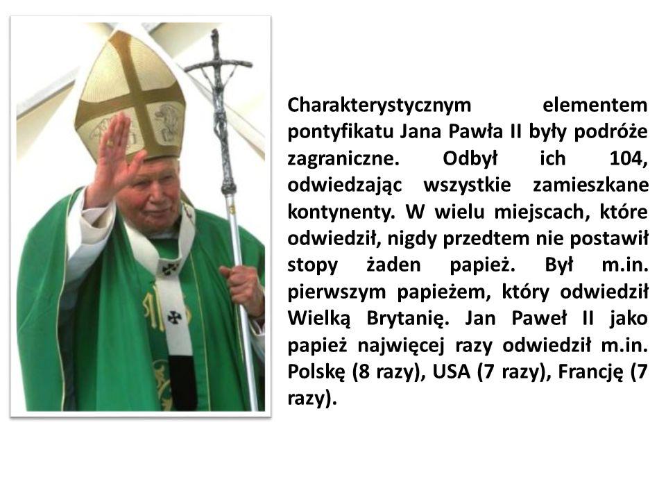 Charakterystycznym elementem pontyfikatu Jana Pawła II były podróże zagraniczne.