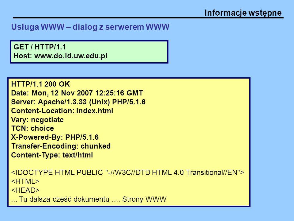 Usługa WWW – dialog z serwerem WWW
