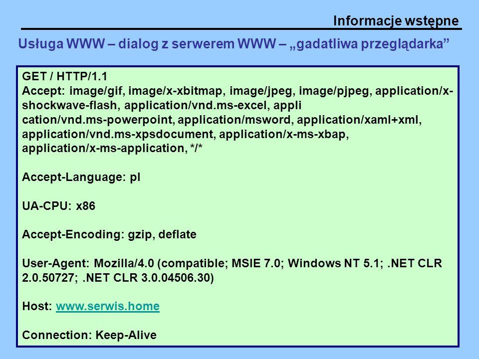 """Usługa WWW – dialog z serwerem WWW – """"gadatliwa przeglądarka"""