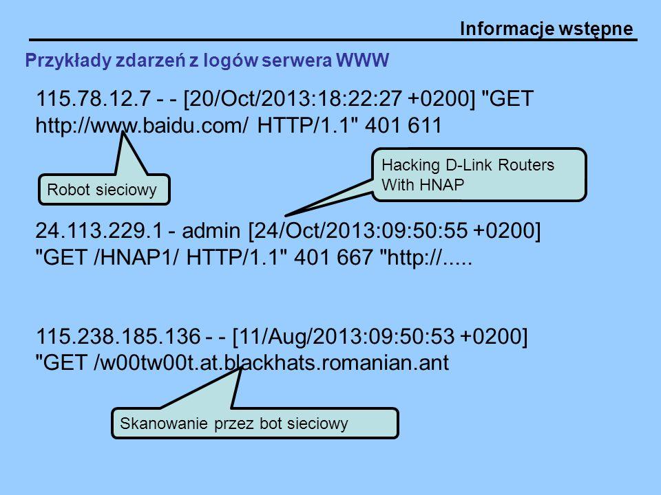 Przykłady zdarzeń z logów serwera WWW