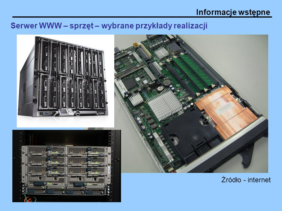 Serwer WWW – sprzęt – wybrane przykłady realizacji