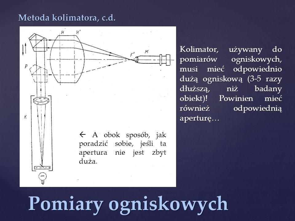 Pomiary ogniskowych Metoda kolimatora, c.d.