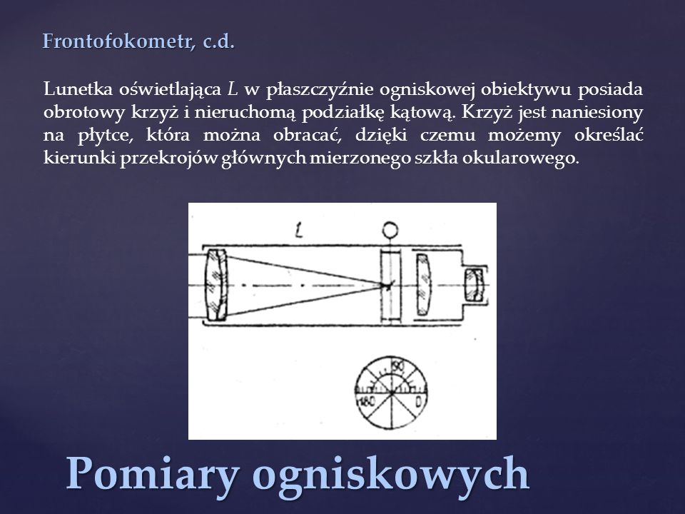Pomiary ogniskowych Frontofokometr, c.d.