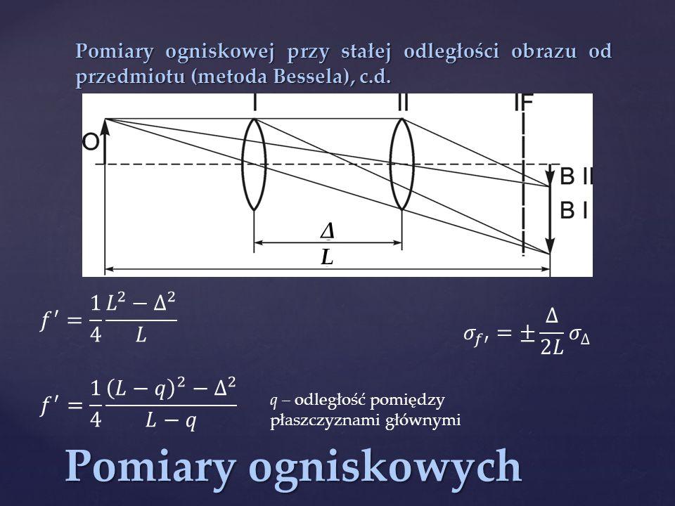 Pomiary ogniskowych Δ L 𝑓 ′ = 1 4 𝐿 2 − ∆ 2 𝐿 𝜎 𝑓′ =± ∆ 2𝐿 𝜎 ∆