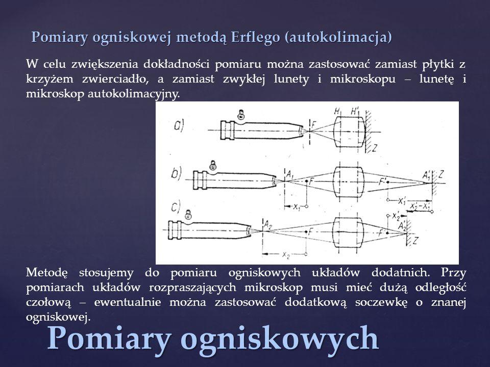 Pomiary ogniskowych Pomiary ogniskowej metodą Erflego (autokolimacja)