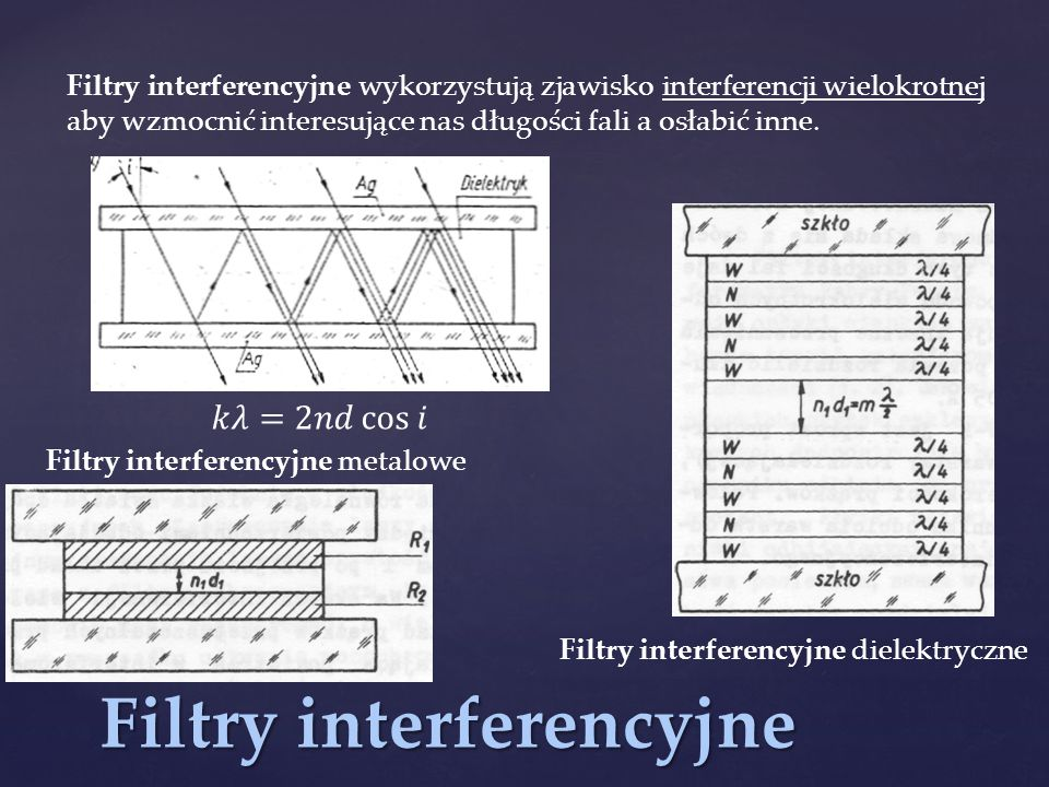 Filtry interferencyjne
