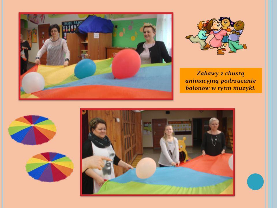 Zabawy z chustą animacyjną podrzucanie balonów w rytm muzyki.