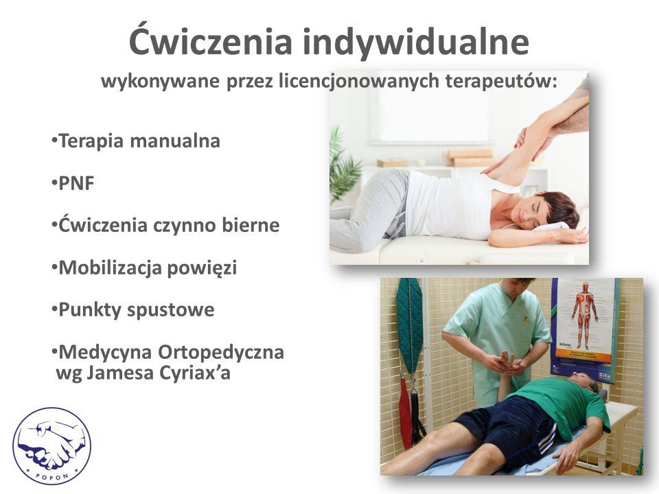 Ćwiczenia indywidualne wykonywane przez licencjonowanych terapeutów: