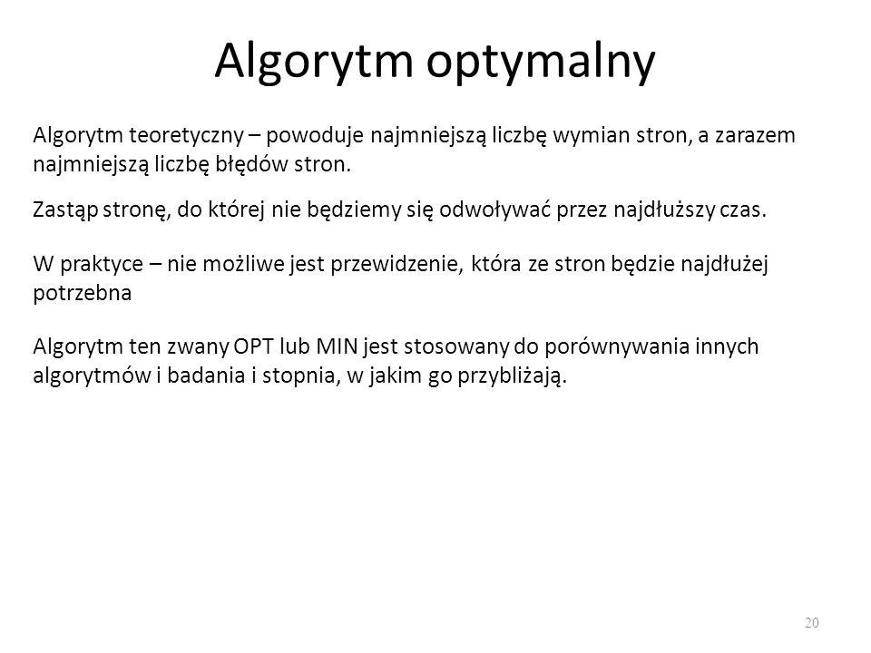 Algorytm optymalny Algorytm teoretyczny – powoduje najmniejszą liczbę wymian stron, a zarazem najmniejszą liczbę błędów stron.