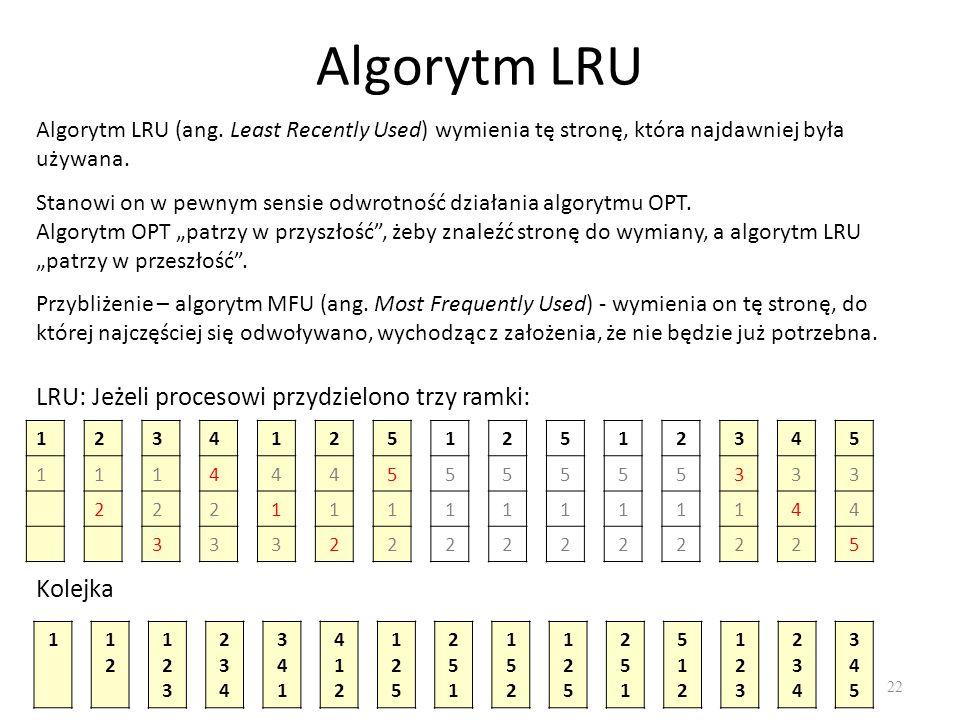 Algorytm LRU LRU: Jeżeli procesowi przydzielono trzy ramki: Kolejka