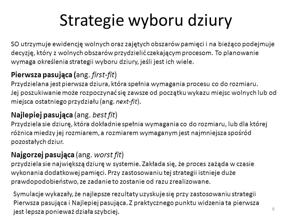 Strategie wyboru dziury