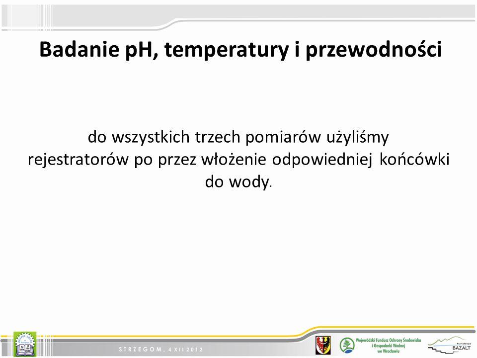 Badanie pH, temperatury i przewodności