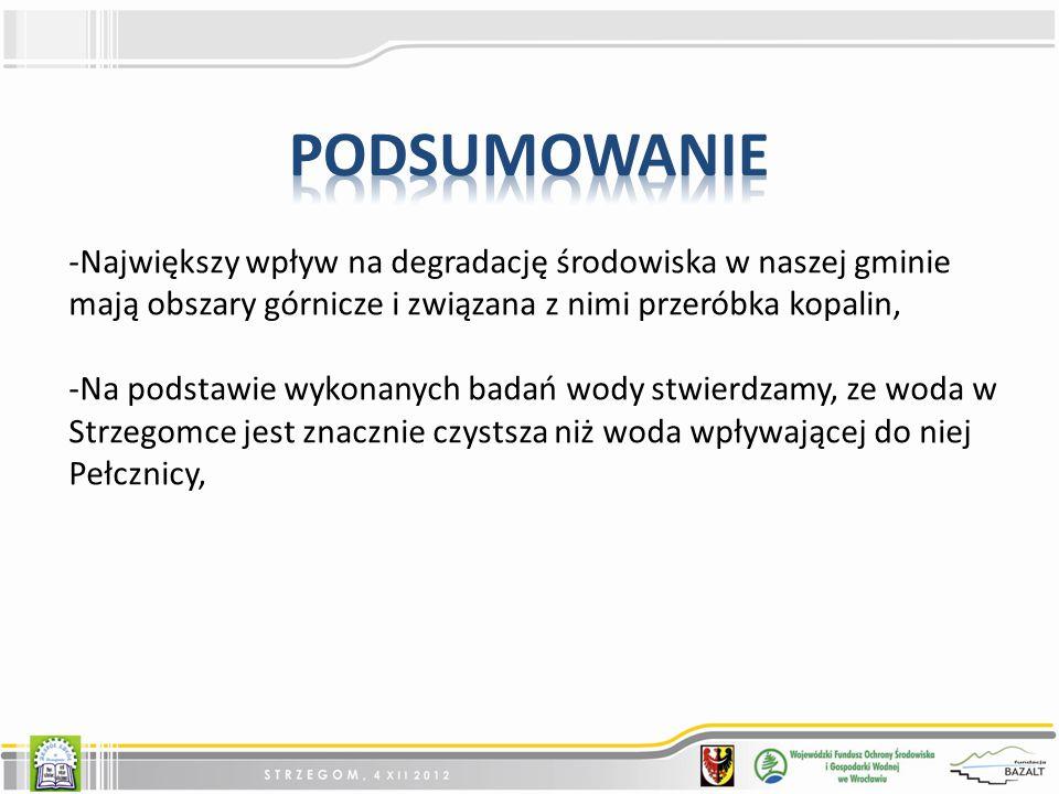 podsumowanie Największy wpływ na degradację środowiska w naszej gminie mają obszary górnicze i związana z nimi przeróbka kopalin,