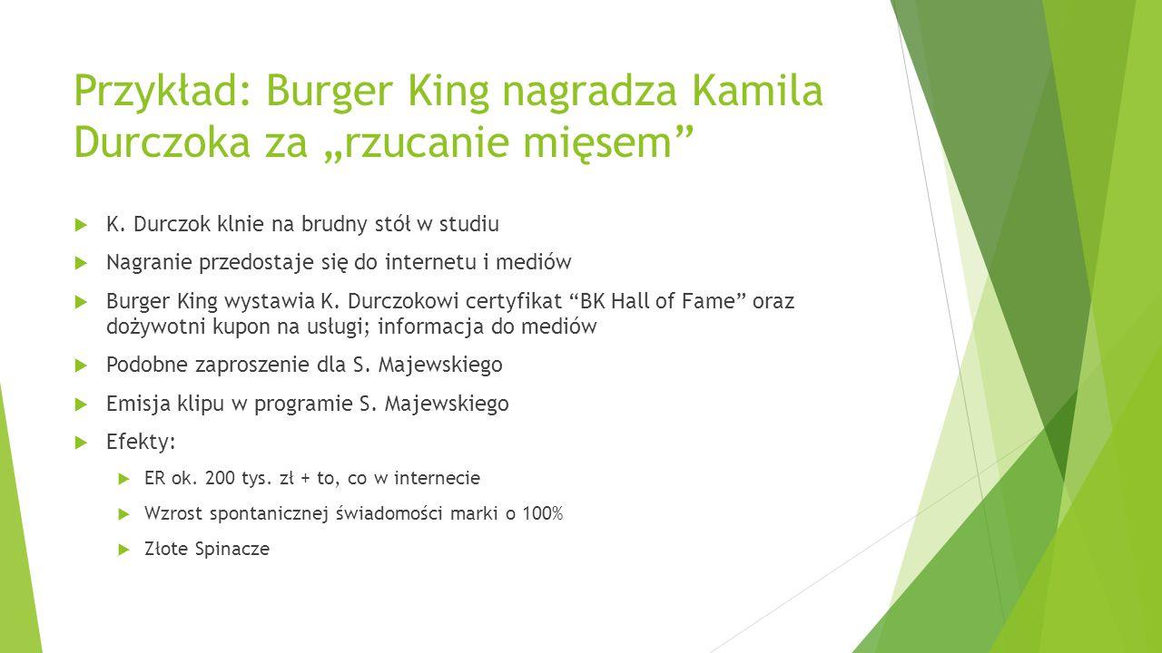 """Przykład: Burger King nagradza Kamila Durczoka za """"rzucanie mięsem"""