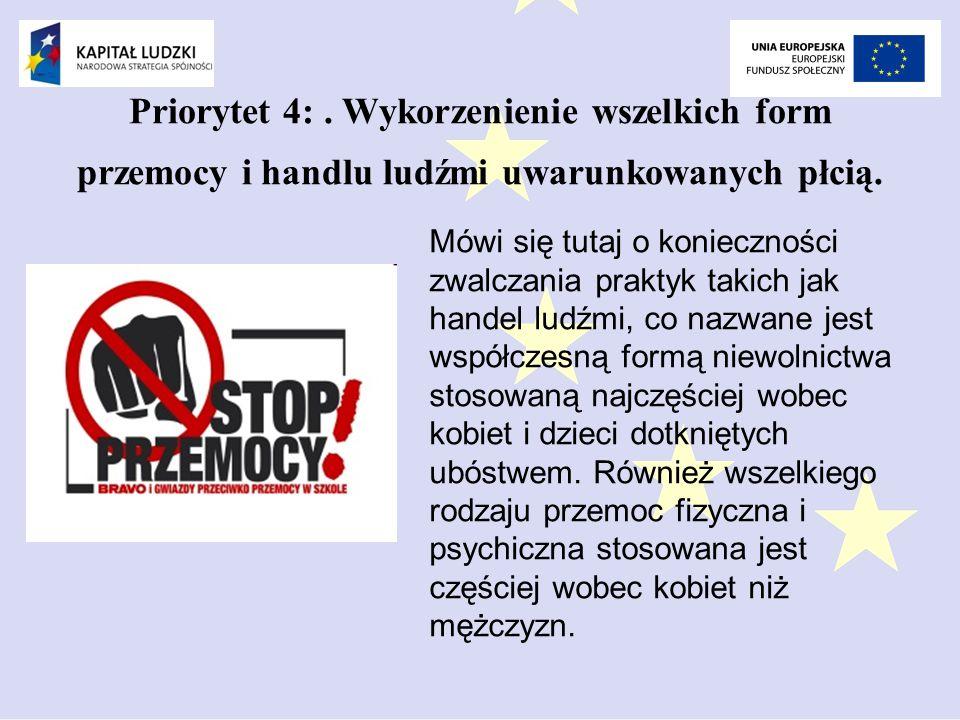 Priorytet 4: . Wykorzenienie wszelkich form przemocy i handlu ludźmi uwarunkowanych płcią.