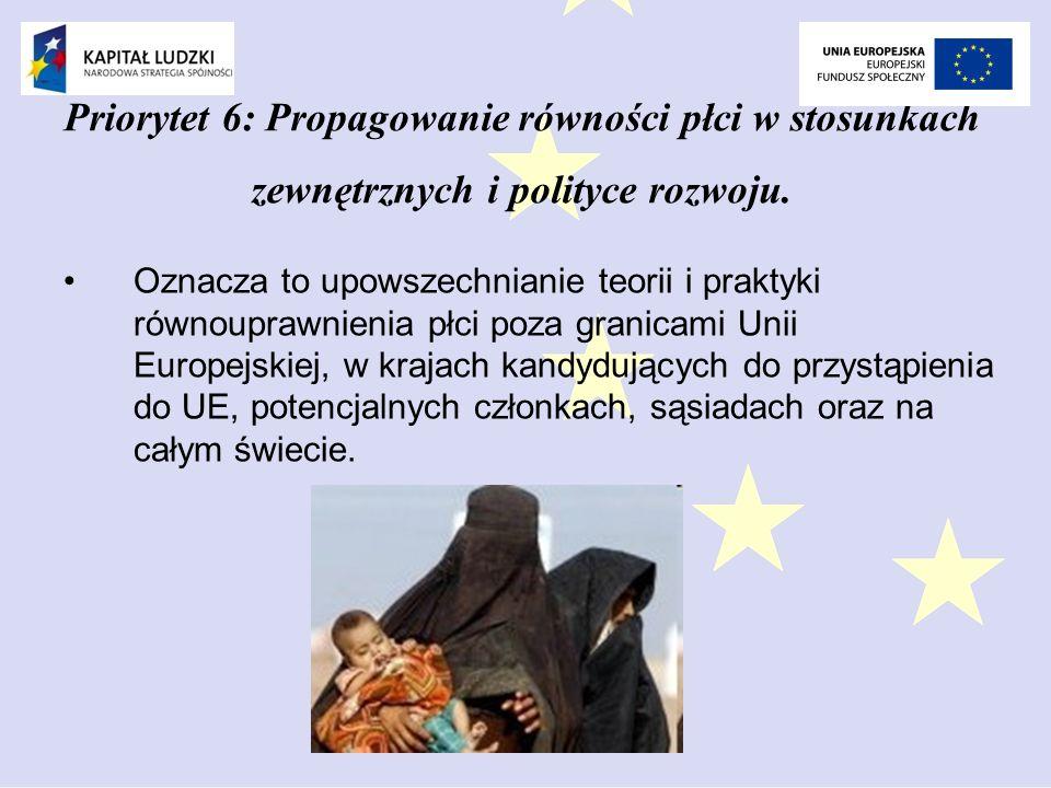 Priorytet 6: Propagowanie równości płci w stosunkach zewnętrznych i polityce rozwoju.