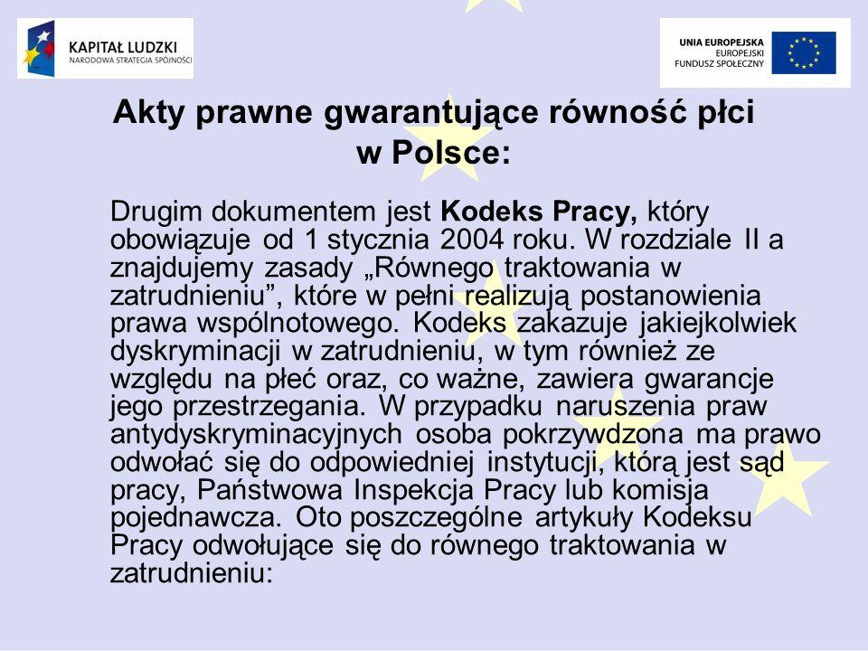 Akty prawne gwarantujące równość płci w Polsce: