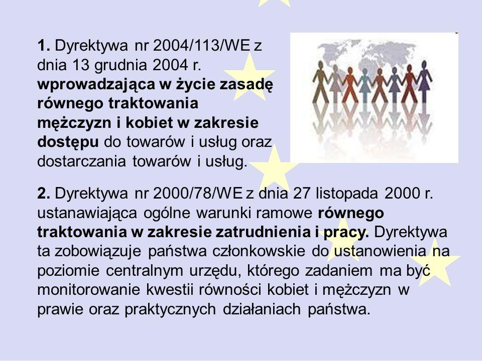 1. Dyrektywa nr 2004/113/WE z dnia 13 grudnia 2004 r