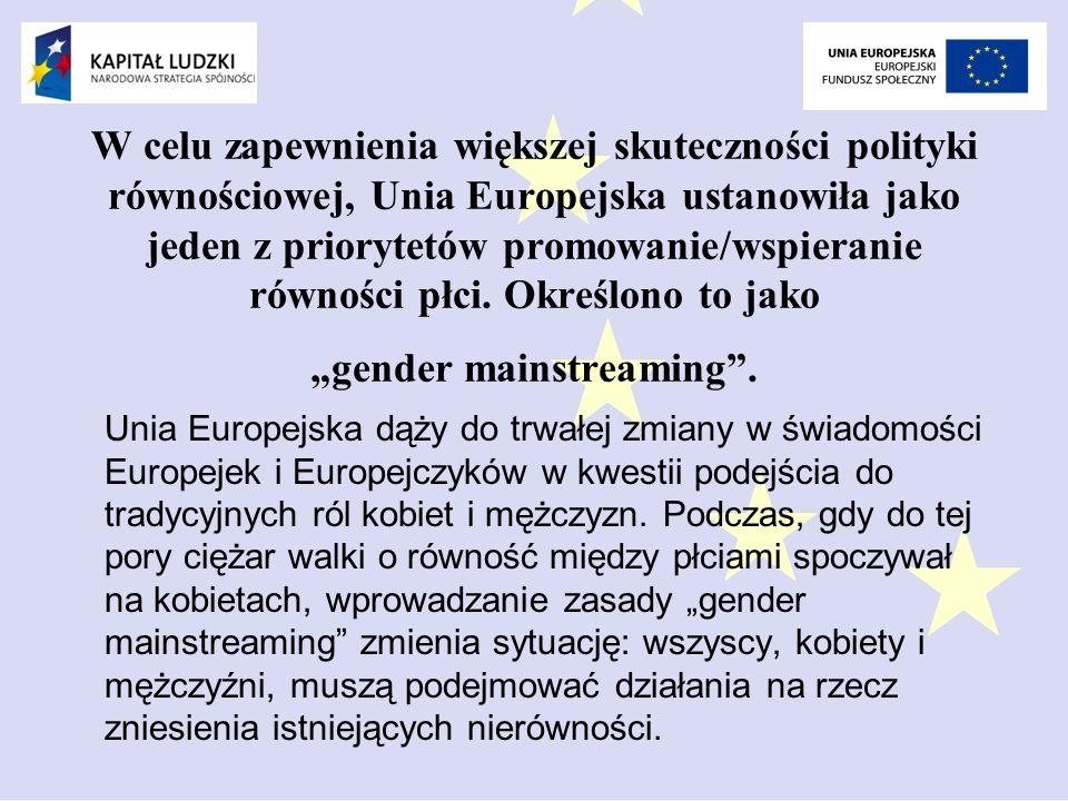 """W celu zapewnienia większej skuteczności polityki równościowej, Unia Europejska ustanowiła jako jeden z priorytetów promowanie/wspieranie równości płci. Określono to jako """"gender mainstreaming ."""