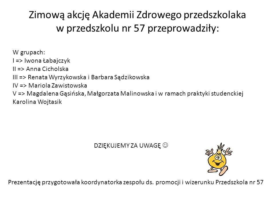 Zimową akcję Akademii Zdrowego przedszkolaka w przedszkolu nr 57 przeprowadziły: