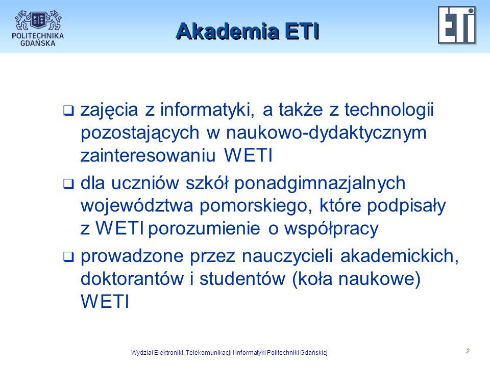 Akademia ETI zajęcia z informatyki, a także z technologii pozostających w naukowo-dydaktycznym zainteresowaniu WETI.