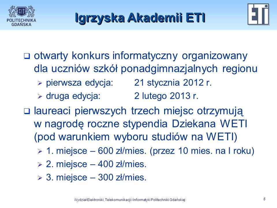 Igrzyska Akademii ETI otwarty konkurs informatyczny organizowany dla uczniów szkół ponadgimnazjalnych regionu.
